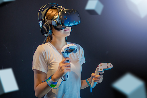 person playing with vr equipment